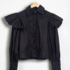 Petal Sleeve Embroidered Shirt Black