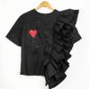 Petal Sleeve 1-Side Embroidered Shirt Black
